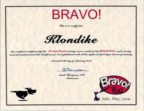 Klondike Extreme Recal Certificate